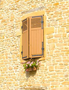 Windows With Flower Box In France Stock Photography