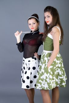 Free Two  Happy Retro-styled Girls Stock Photography - 15063482