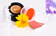 Free Cosmetics With A Yellow Flower And Violet Crystal Stock Image - 15063741