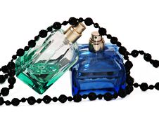 Free Two Pulverizers With Perfume And Black Necklace Royalty Free Stock Images - 15063759