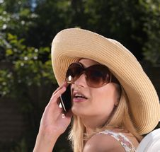 Free Confident Blond Woman On Mobile Phone Stock Photography - 15064372