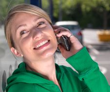 Free Smiling,confident Blond Woman On Mobile Phone Royalty Free Stock Image - 15064436
