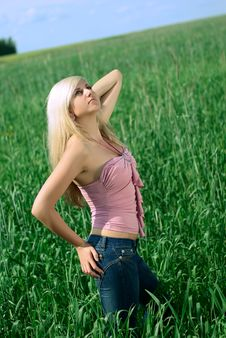 Woman In The Field. Stock Image