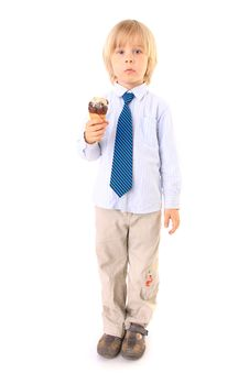 Free Boy Eating Ice Cream Isolated On White Royalty Free Stock Images - 15067249