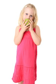 Free Little Blonde Girl With Green Apple Stock Images - 15067264