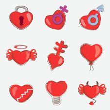 Free Hearts Set Royalty Free Stock Photos - 15067408