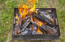 Preparing Barbecue Fire Royalty Free Stock Photo