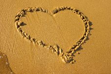 Free Hearts Drawing On The Beach Royalty Free Stock Images - 15067919