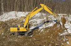 Excavator On Construction Of The Road Royalty Free Stock Image
