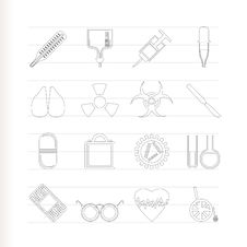 Collection Of  Medical Themed Icons Stock Images