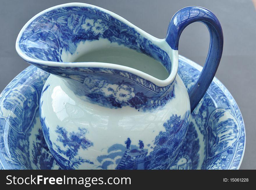 Porcelain jug and bowl