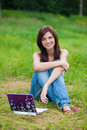 Free Brunette Student Girl In The Park With Notebook Stock Photos - 15078833