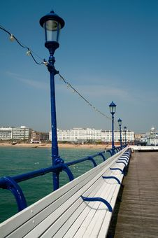 Free Seating Along Eastbourne Pier Stock Photography - 15070482