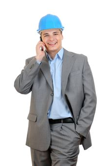 Free Engineer Talking With Cell Phone Royalty Free Stock Image - 15071396