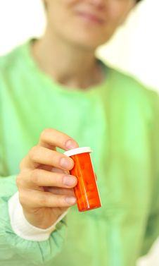 Free Doctor Holding Bottle Of Prescription Pills Stock Photos - 15071703