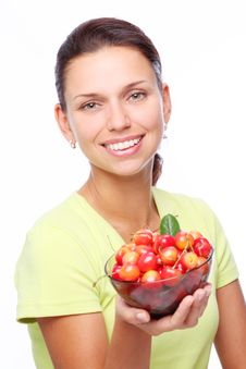 Woman With Crockery Of Cherries In Her Hands. Royalty Free Stock Images