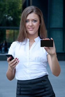 Free Young Woman With Phone And Credit Card In Hands Royalty Free Stock Image - 15072886