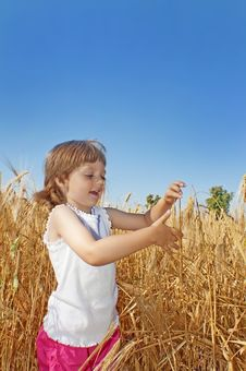 Free Little Girl  On A Wheat Field Looking On Wheat Stock Photos - 15072993