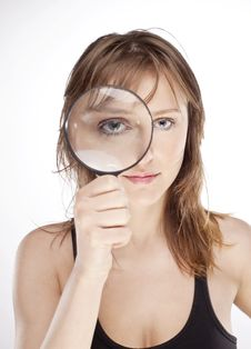Free WOMAN WITH MAGNIFIER Stock Images - 15073574