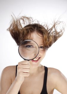 Free WOMAN WITH MAGNIFIER Stock Photo - 15073620