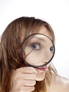 Free WOMAN WITH MAGNIFIER Stock Images - 15073684