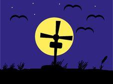 Free Night Cemetery Against The Dark Blue Sky Royalty Free Stock Photo - 15073875