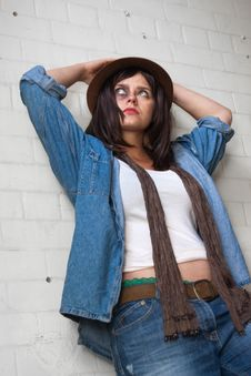 Free Trendy Young Woman In Denim Royalty Free Stock Photography - 15073957