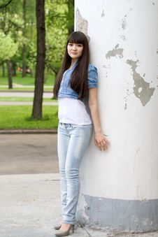 Free Girl Standing Near Column Stock Photo - 15074110