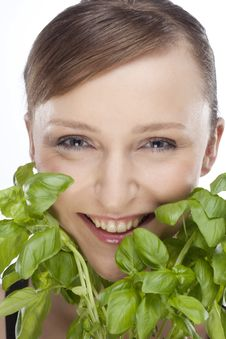 WOMAN WITH BASIL Stock Image