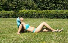 Free Girl In Bikini Sunbathing Stock Photo - 15074820