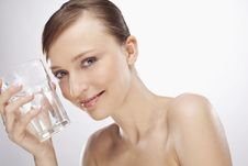Free WOMAN WITH GLASS OF WATER Royalty Free Stock Photo - 15074855