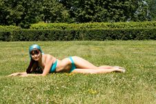 Free Girl In Bikini Sunbathing Royalty Free Stock Images - 15074859