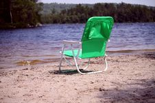 Free Green Beach Chair Royalty Free Stock Image - 15075436