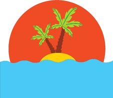 Free Tropical Palm On Island In Ocean Royalty Free Stock Images - 15075519