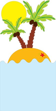 Tropical Palm On Island In Ocean Stock Photo