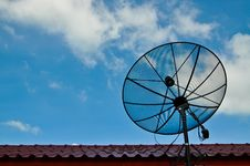 Satellite Dish On Roof Stock Photo