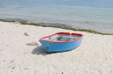 Rowing Boat On A Beach Royalty Free Stock Photo