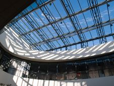 Architectural Abstract Glass Roof Ceiling Stock Images