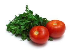 Bunch Of Fresh Parsley And Two Tomatoes Royalty Free Stock Photography