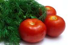 Bunch Of Fresh Herb And Tomatoes Stock Photo