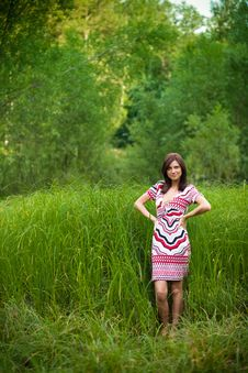 Beautiful Brunette Girl In Dress In Park Stock Photography