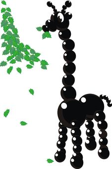 Black Beads Giraffe And Green Leaves Stock Image
