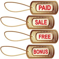 Free Set Of Gold Tags For Best Sales Royalty Free Stock Images - 15079759