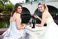Free Young Women In Gowns Sharing A Drink Royalty Free Stock Images - 15082779
