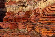 Free Brick Of Base Of Temple, Ayuttaya, Thailand Stock Image - 15080261