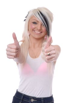 Free Sexy Young Blond Girl Thumbs Up Royalty Free Stock Photos - 15080368