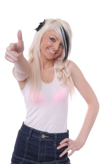 Free Sexy Young Blond Girl Pointing Stock Photo - 15080370