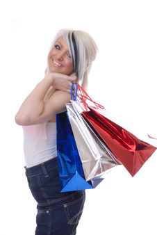 Sexy Young Blond Girl With Shopping Royalty Free Stock Photo
