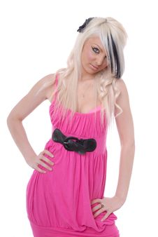 Free Sexy Blond Girl In Pink Dress Royalty Free Stock Photo - 15080395