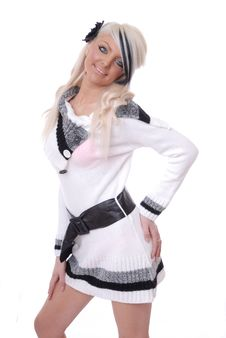Free Sexy Blond Girl In Casual Wool Top Stock Photography - 15080462
